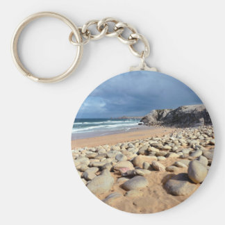 Beach and cliff at Quiberon peninsula in France Keychain