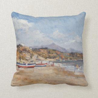 Beach and Mountains Nerja 2001 Throw Pillow