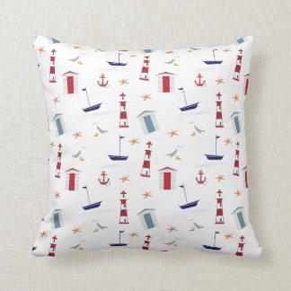 Beach and ocean themed throw pillow