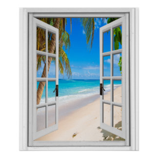 Beach and Ocean View Faux Window Poster