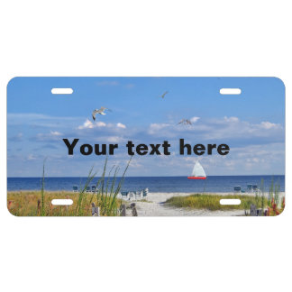 Beach and Ocean View with Sailboat License Plate
