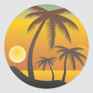 Beach and palm trees illustration classic round sticker