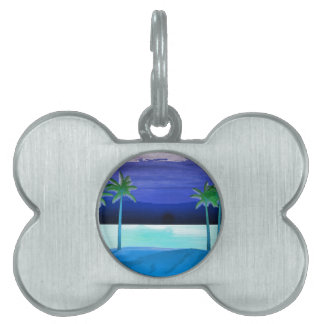 Beach and Palm Trees Pet Name Tag