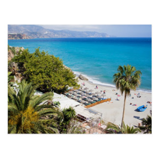 Beach and Sea in Nerja Postcard