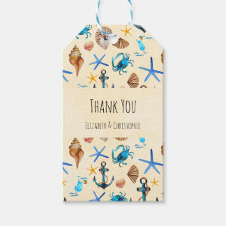 Beach And Sea Life Themed Pattern Thank You Pack Of Gift Tags