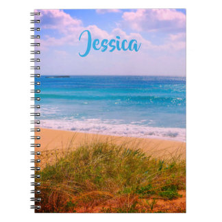 Beach and Sea with Dunes Personalized Name Notebook