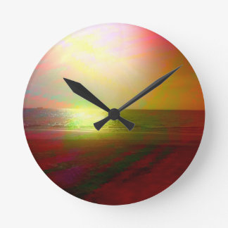 Beach and sunlight in color wallclock