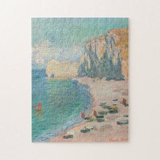 Beach and the Falaise d'Amont Monet Fine Art Jigsaw Puzzle
