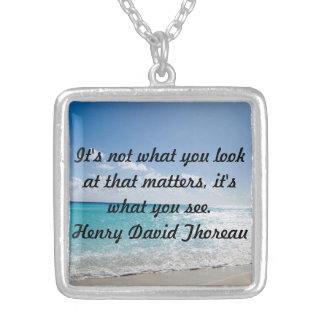 Beach and Thoreau Quote Necklace