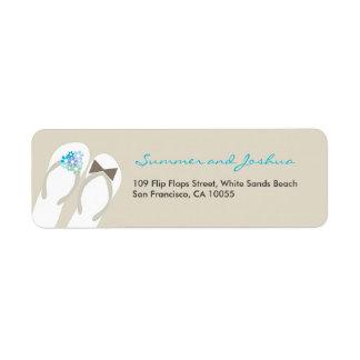 Beach Aqua Flower Flip Flops Wedding Address Label
