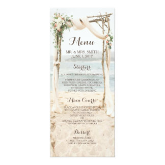 Beach Arbor Wedding Menu Card