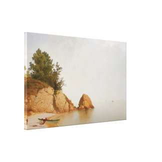 Beach at Beverly, c.1869-72 Stretched Canvas Print