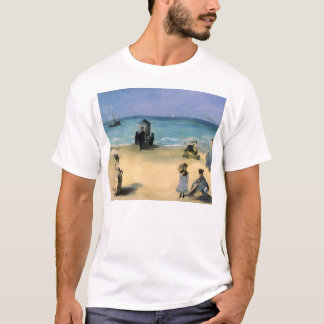 Beach at Boulogne by Manet, Vintage Impressionism T-Shirt