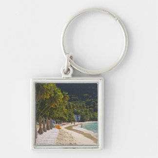 Beach at Cane Garden Bay, Island of Tortola Silver-Colored Square Keychain