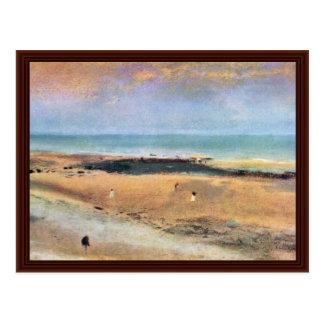 Beach At Low Tide By Edgar Degas Postcard