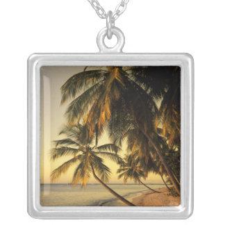 Beach at sunset, Trinidad Square Pendant Necklace