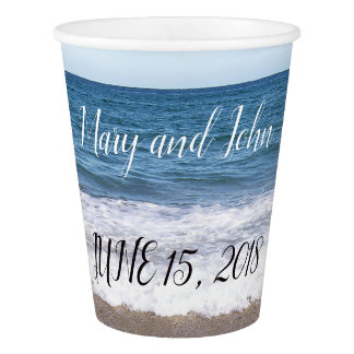 Beach At The Ocean Wedding Paper Cup