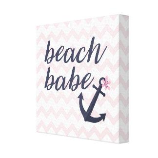 Beach Babe Baby Nursery Nautical Anchor Decoration Canvas Print