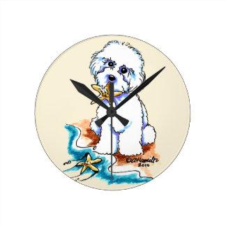 Beach Babe Bichon Frise Round Clock