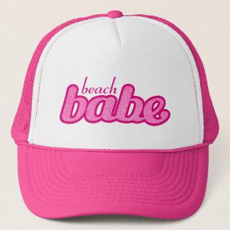 """beach babe"" denim hot pink and white hat"