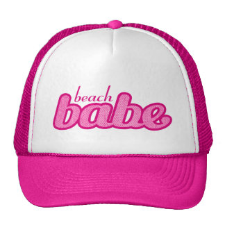 """beach babe"" denim hot pink and white hat"