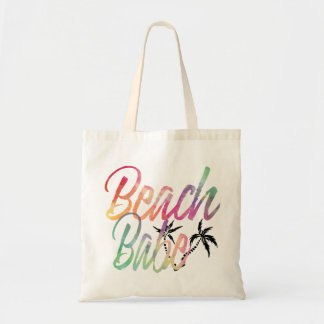 BEACH BABE RAINBOW SCRIPT BLACK PALM TREE TOTE BAG