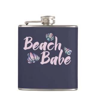 beach babe shells hip flask