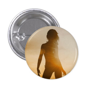 Beach Babes Sunset Silhouette Enjoying the Sun 1 Inch Round Button