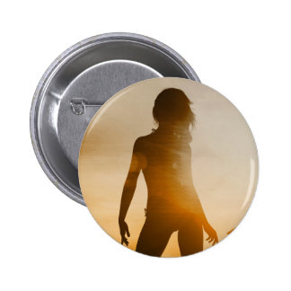 Beach Babes Sunset Silhouette Enjoying the Sun 2 Inch Round Button