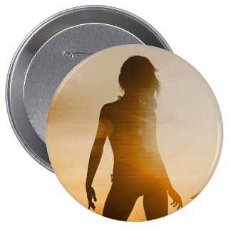 Beach Babes Sunset Silhouette Enjoying the Sun 4 Inch Round Button