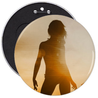 Beach Babes Sunset Silhouette Enjoying the Sun 6 Inch Round Button