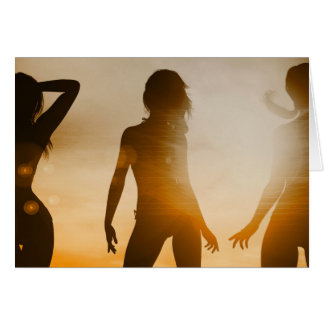 Beach Babes Sunset Silhouette Enjoying the Sun Card