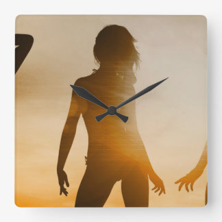 Beach Babes Sunset Silhouette Enjoying the Sun Wall Clock