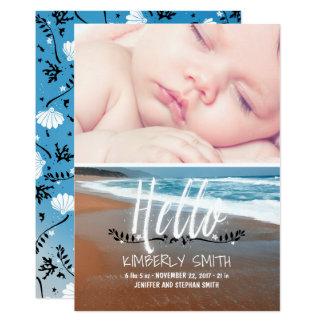 Beach Baby Birth Photo Announcement Hello