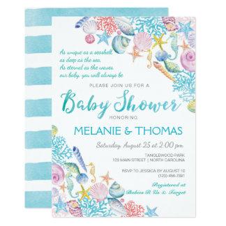 Beach Baby Shower Invitation, Nautical Sea Shell Card
