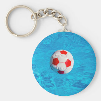Beach ball floating  in blue swimming pool keychain