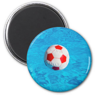 Beach ball floating  in blue swimming pool magnet