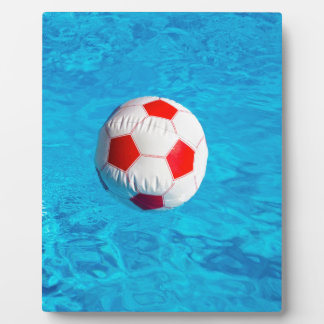 Beach ball floating  in blue swimming pool plaque