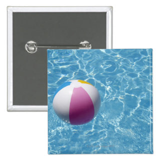 Beach ball in swimming pool 2 inch square button