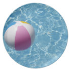 Beach ball in swimming pool plate
