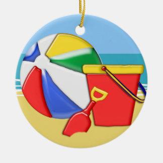 Beach Ball, Pail & Shovel at the Shore Round Ceramic Ornament
