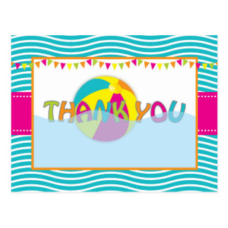 Beach Ball/Pool Party Thank You Post Card