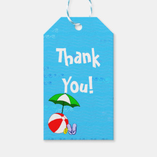 Beach Ball Pool Umbrella Custom Thank You Tag Pack Of Gift Tags