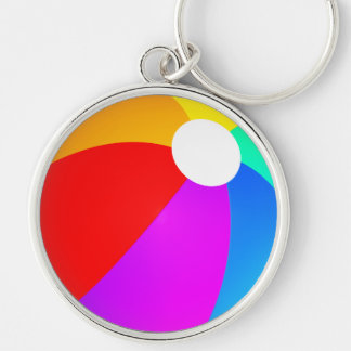 Beach Ball Silver-Colored Round Keychain