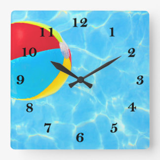 Beach Ball Square Wall Clock