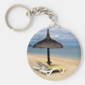 Beach Basic Round Button Keychain