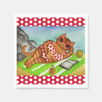 Beach Bikini Cat Party Picnic Napkins Disposable Napkins