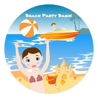 Beach bikini girl birthday party invitation