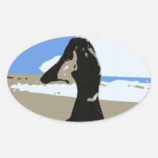 Beach Bird Oval Stickers