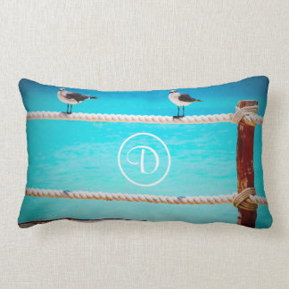 Beach birds photo custom monogram lumbar pillow